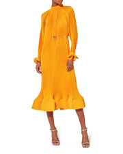 Pleated Long Sleeve Belted Dress, YELLOW, hi-res