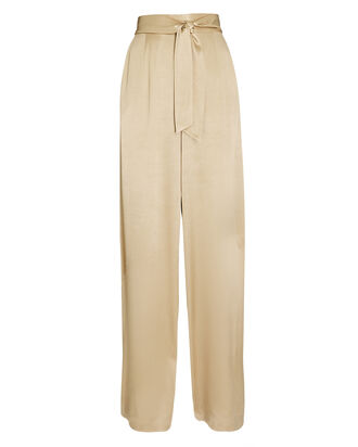 Savannah Satin Wide-Leg Pants, BROWN, hi-res