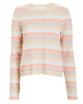 Alyssa Striped Crew Pull-Over, CORAL/STRIPES, hi-res
