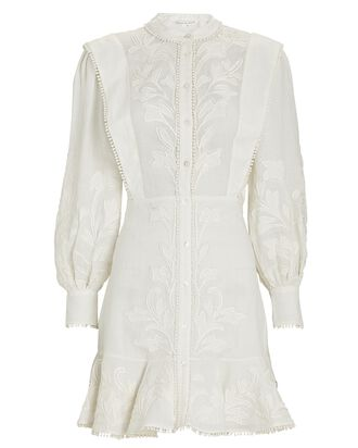 Analeah Embroidered Mini Dress, WHITE, hi-res
