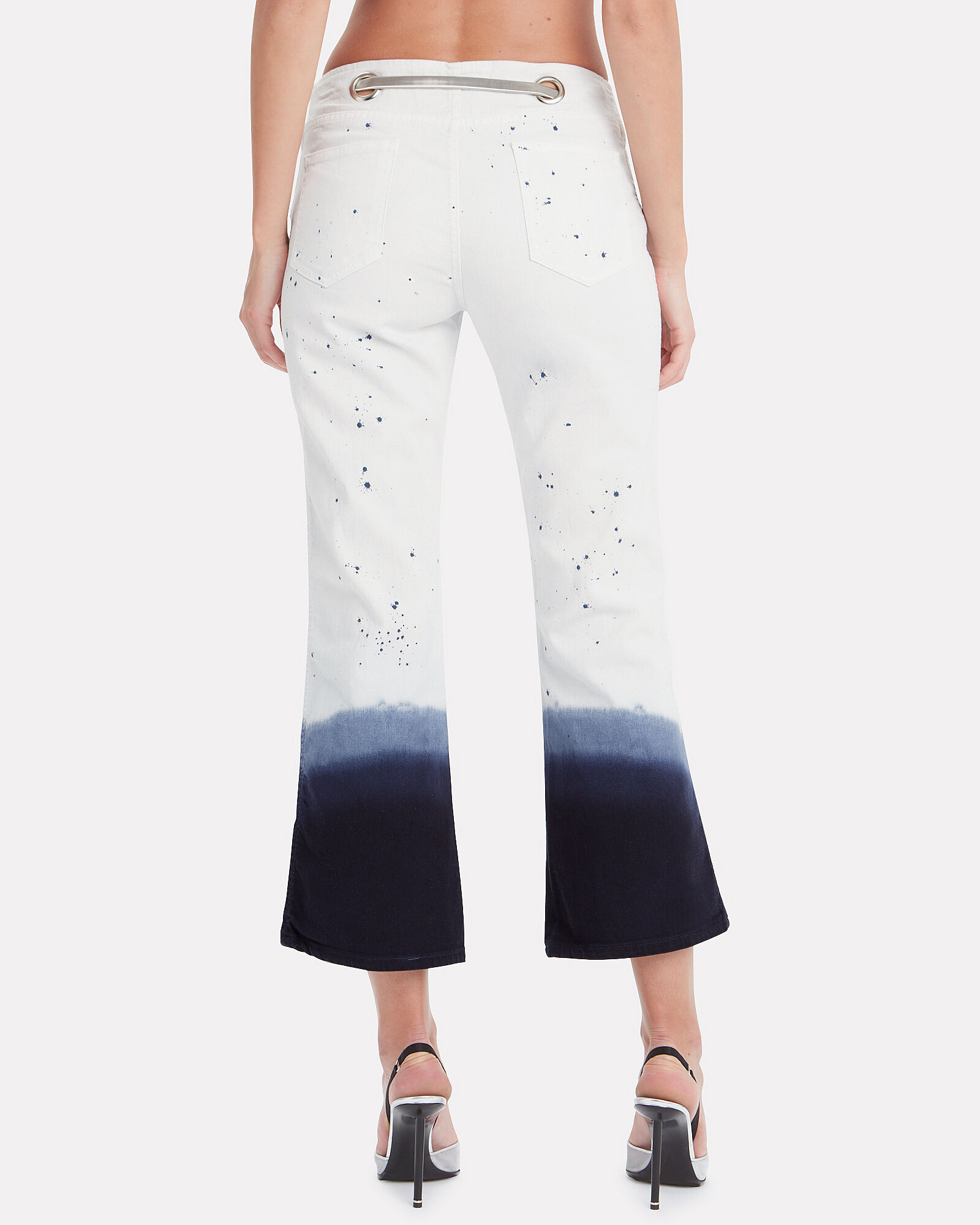 Morgan Dip-Dyed Flared Jeans, WHITE, hi-res