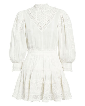 Viola Lace-Trimmed Cotton Dress, WHITE, hi-res