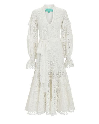Napoles Lace Midi Dress, WHITE, hi-res
