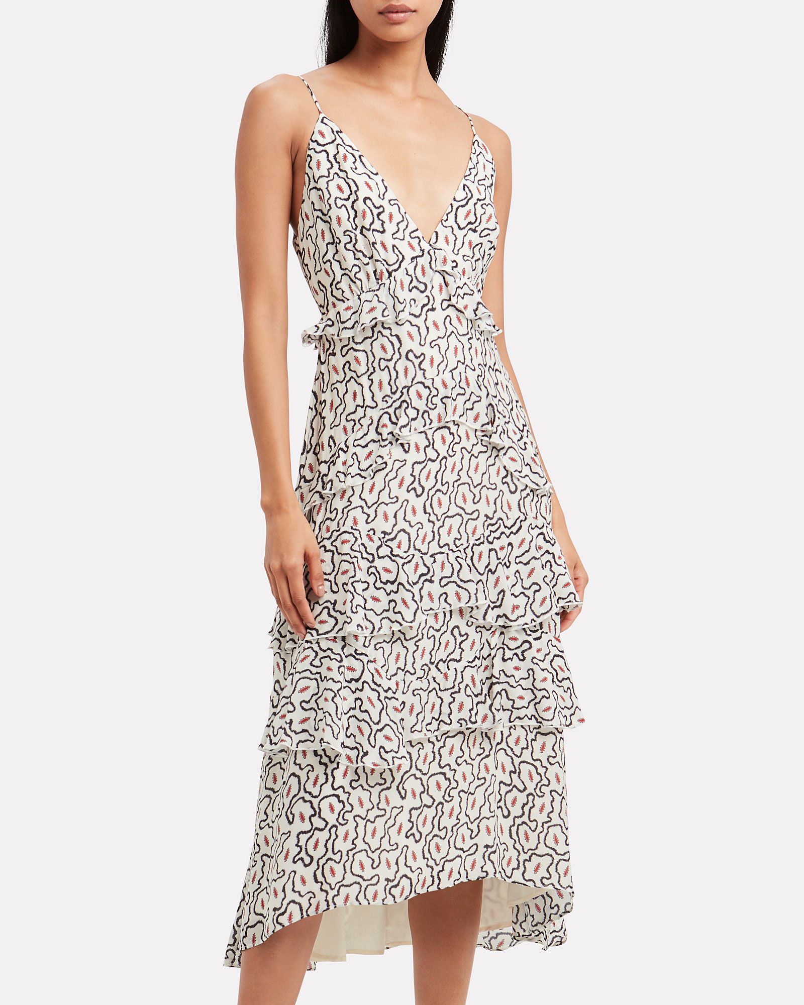 Euphony Ziggy Print Dress, IVORY/BLACK ABSTRACT PRINT, hi-res