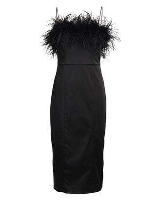 Lilya Feather-Trimmed Midi Dress, BLACK, hi-res