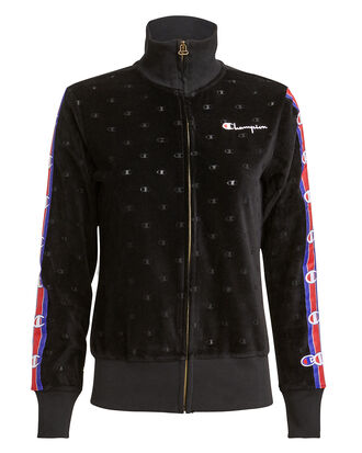 Velour Track Zip Jacket, BLACK/RED/BLUE, hi-res