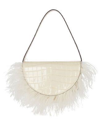 Amal Feather-Trimmed Leather Bag, WHITE, hi-res