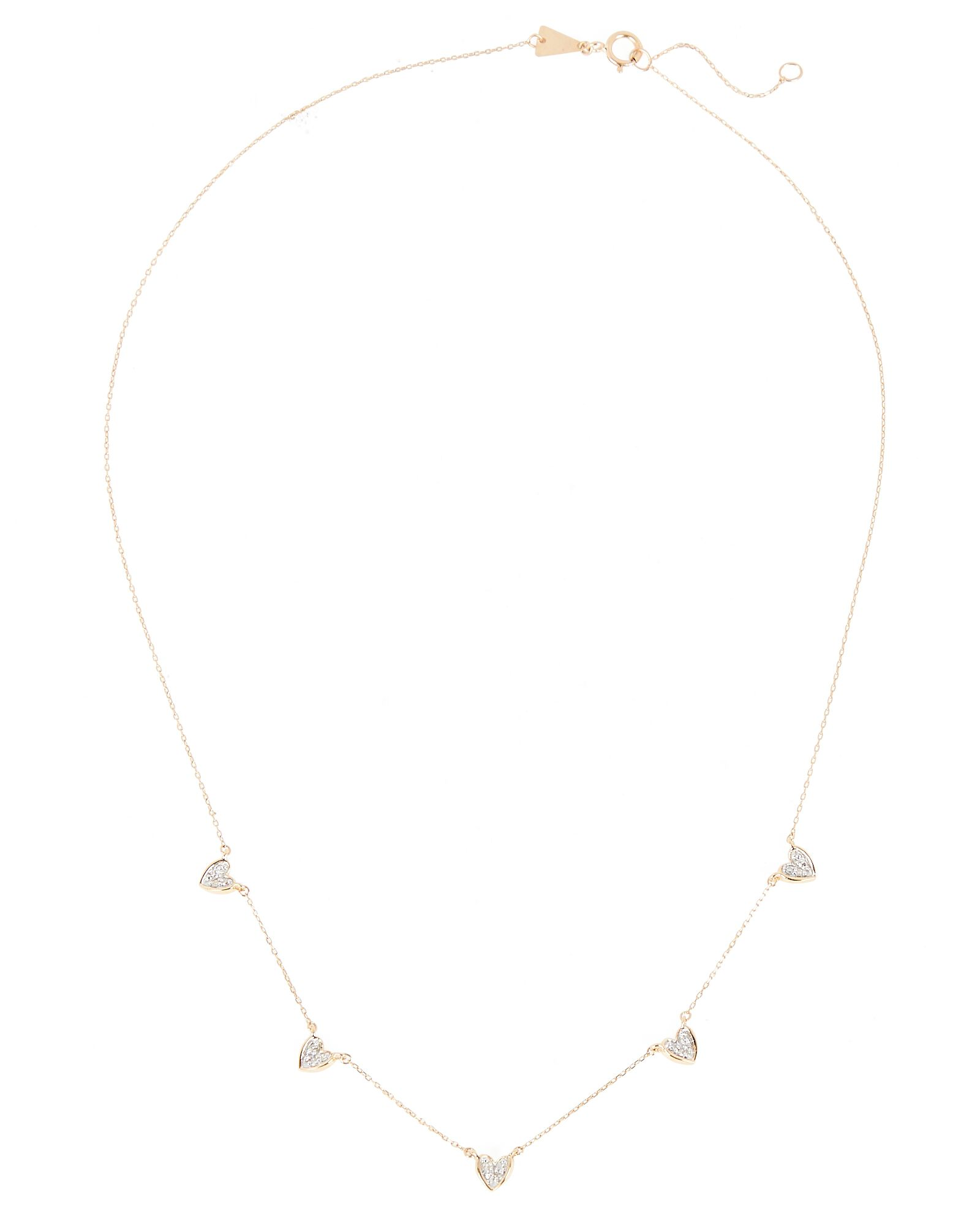 Pavé Folded Heart Chain Necklace, GOLD, hi-res