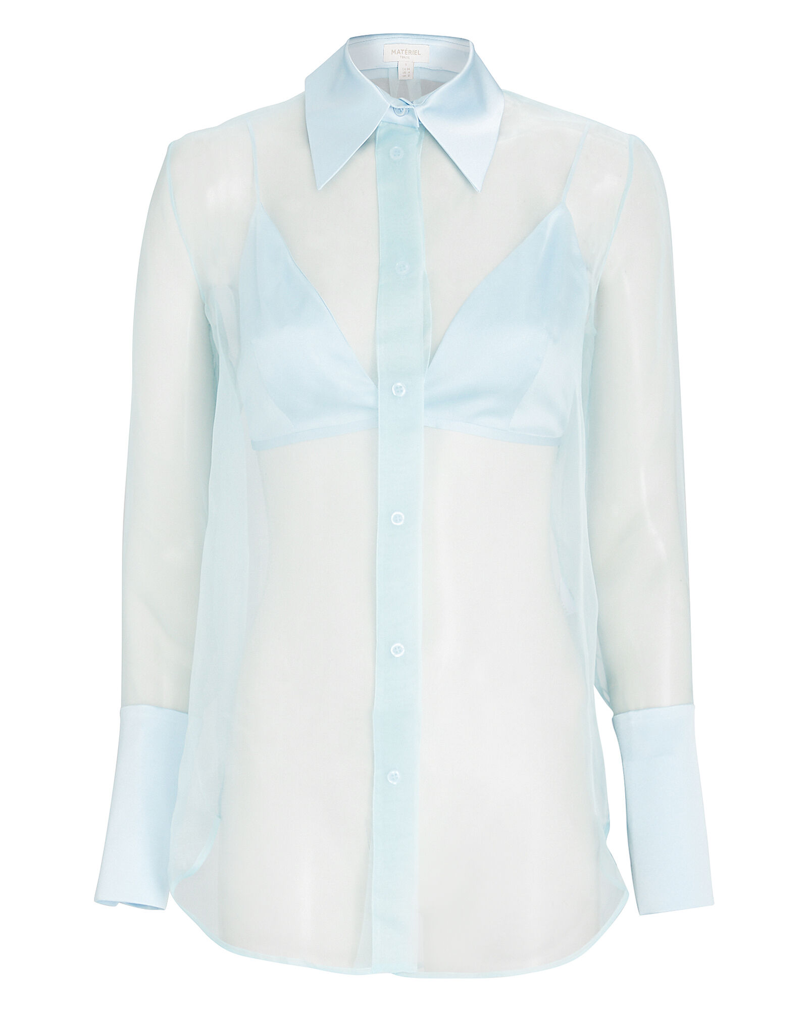 Silk Organza Button-Down Shirt, BLUE-LT, hi-res