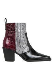 Two Tone Western Booties, BURGUNDY/BLACK LEATHER, hi-res
