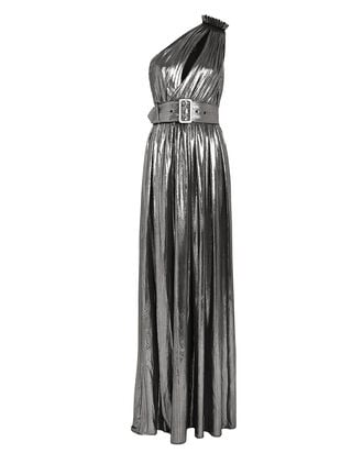 Andrea One-Shoulder Lamé Gown, SILVER, hi-res
