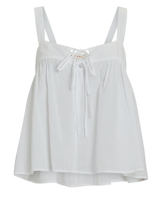 Kyra Sleeveless Cotton Poplin Top, , hi-res