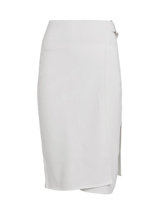 Compact Wool Wrap Skirt, IVORY, hi-res