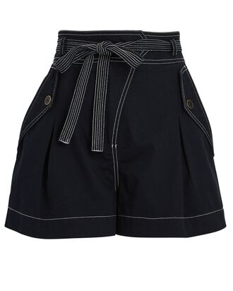 Oscar Belted Cotton Shorts, NAVY, hi-res