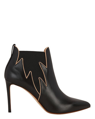 Flames Leather Booties, BLACK, hi-res