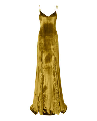 V-Neck Mustard Velvet Gown, METALLIC, hi-res