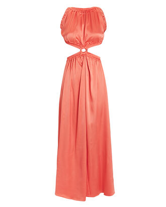 Theia Satin Gown, ORANGE, hi-res