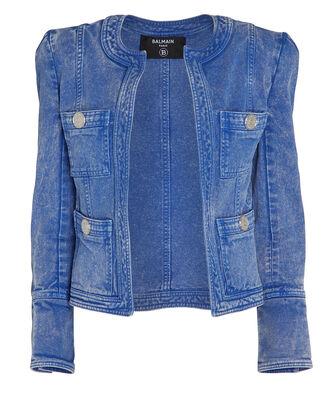 Collarless Denim Jacket, MEDIUM WASH DENIM, hi-res
