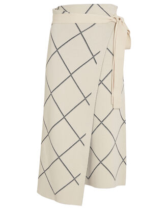Windowpane Wrap Skirt, IVORY, hi-res