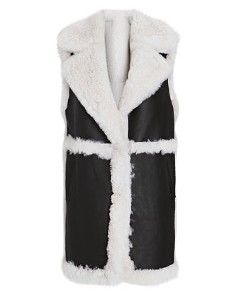Reversible Shearling Longline Vest, BLACK/WHITE, hi-res