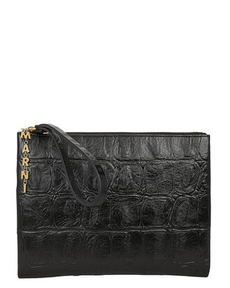 Croc-Embossed Envelope Clutch, BLACK, hi-res