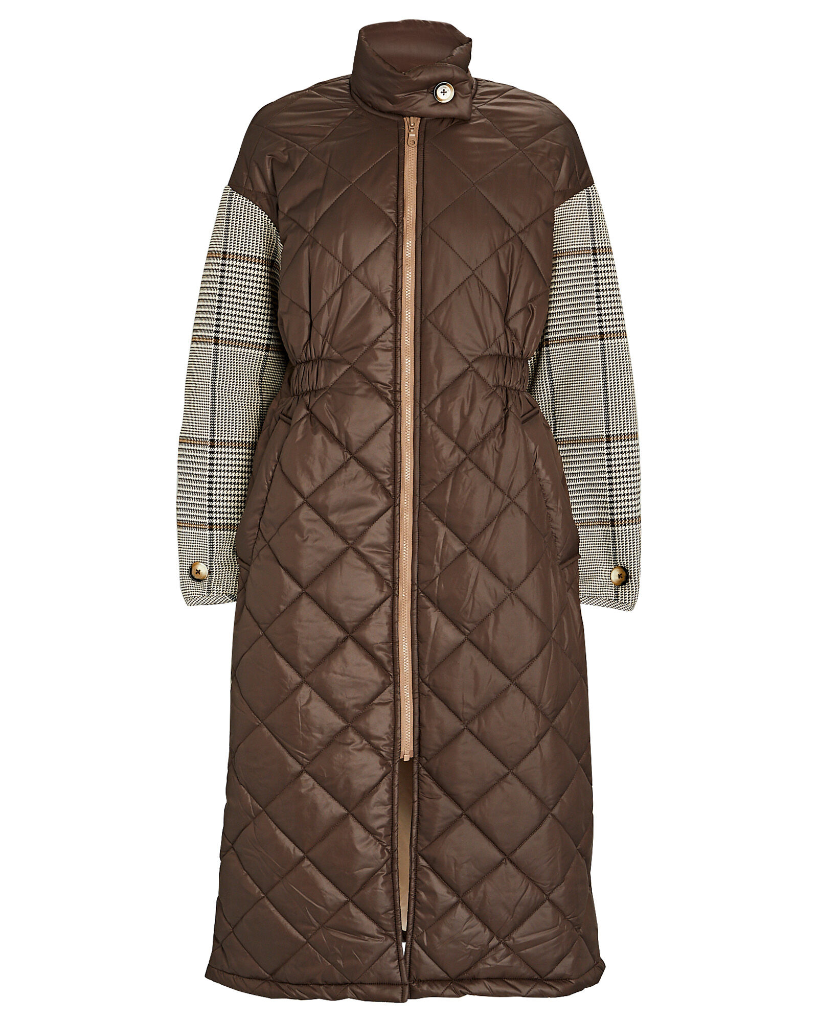 Deadra Quilted Plaid Puffer Coat, MULTI, hi-res