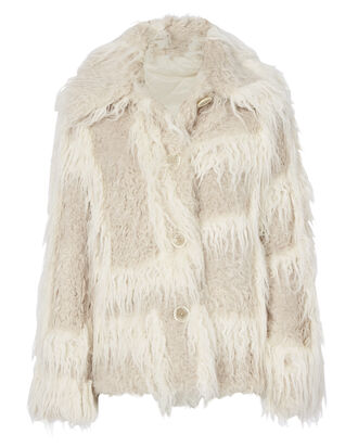 Plaid Two-Tone Faux Fur Jacket, BEIGE/KHAKI, hi-res
