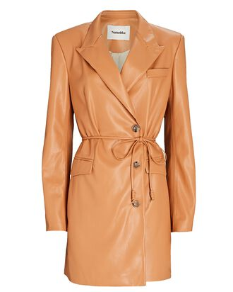 Remi Vegan Leather Blazer Dress, LIGHT BROWN, hi-res