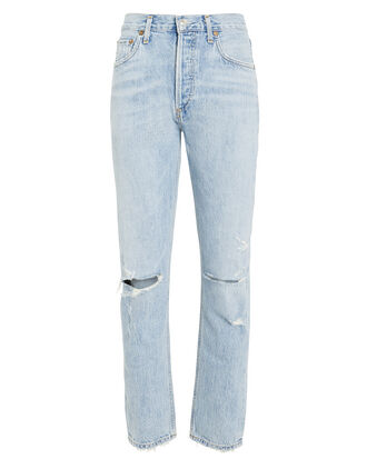 Jamie High-Rise Distressed Jeans, LIGHT WASH DENIM, hi-res