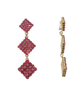 Long Crystal Diamond Earrings, PINK, hi-res