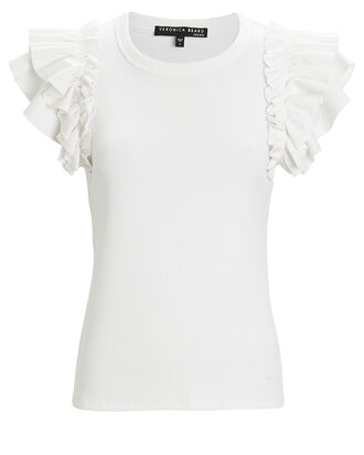 Biscay Ruffled Knit Top, WHITE, hi-res