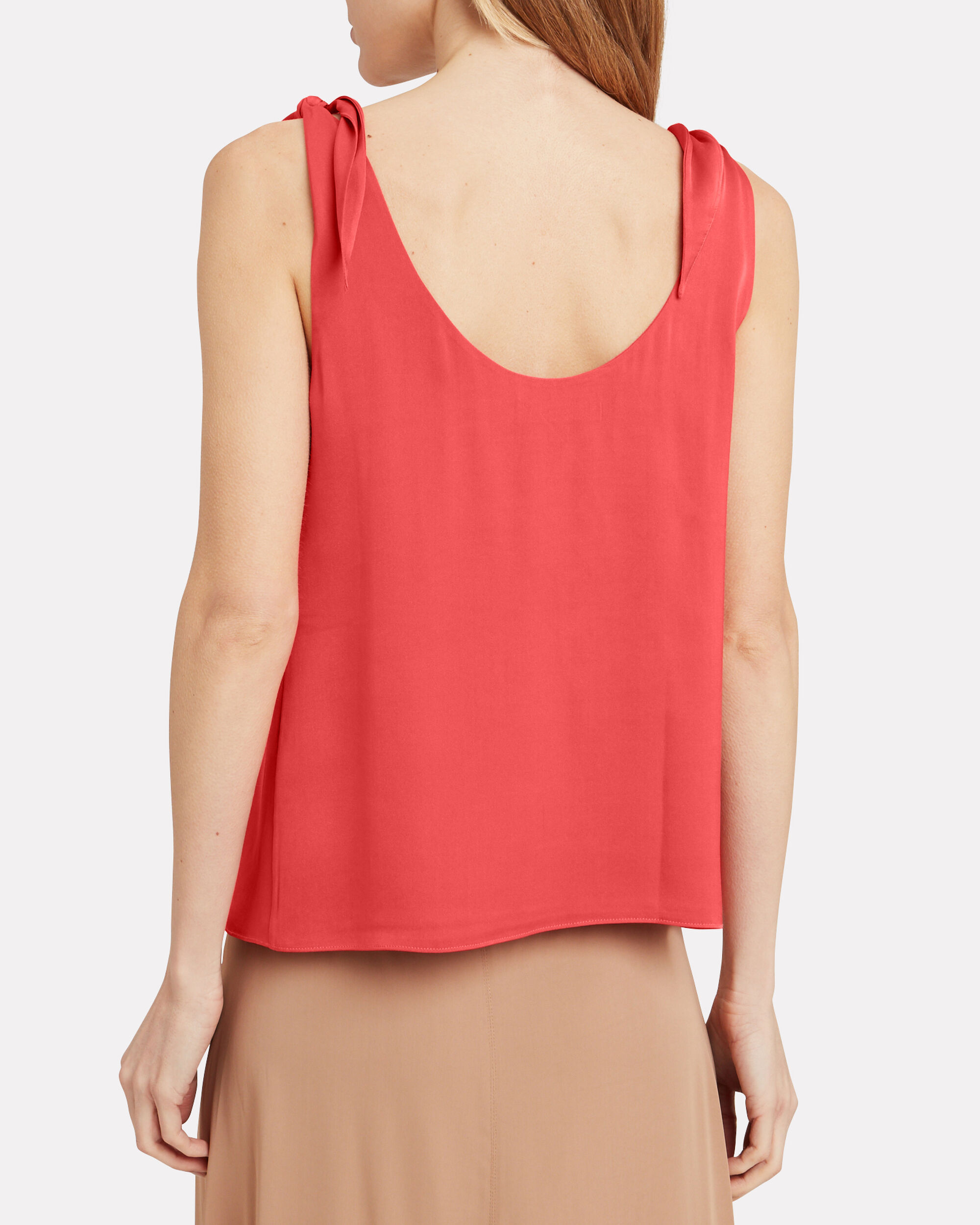 Lorena Silk Tie Sleeve Top, CORAL, hi-res