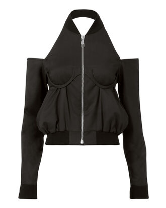 Cold Shoulder Bomber Top, BLACK, hi-res