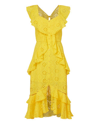 Clair De Lune Ruffle Dress, YELLOW, hi-res