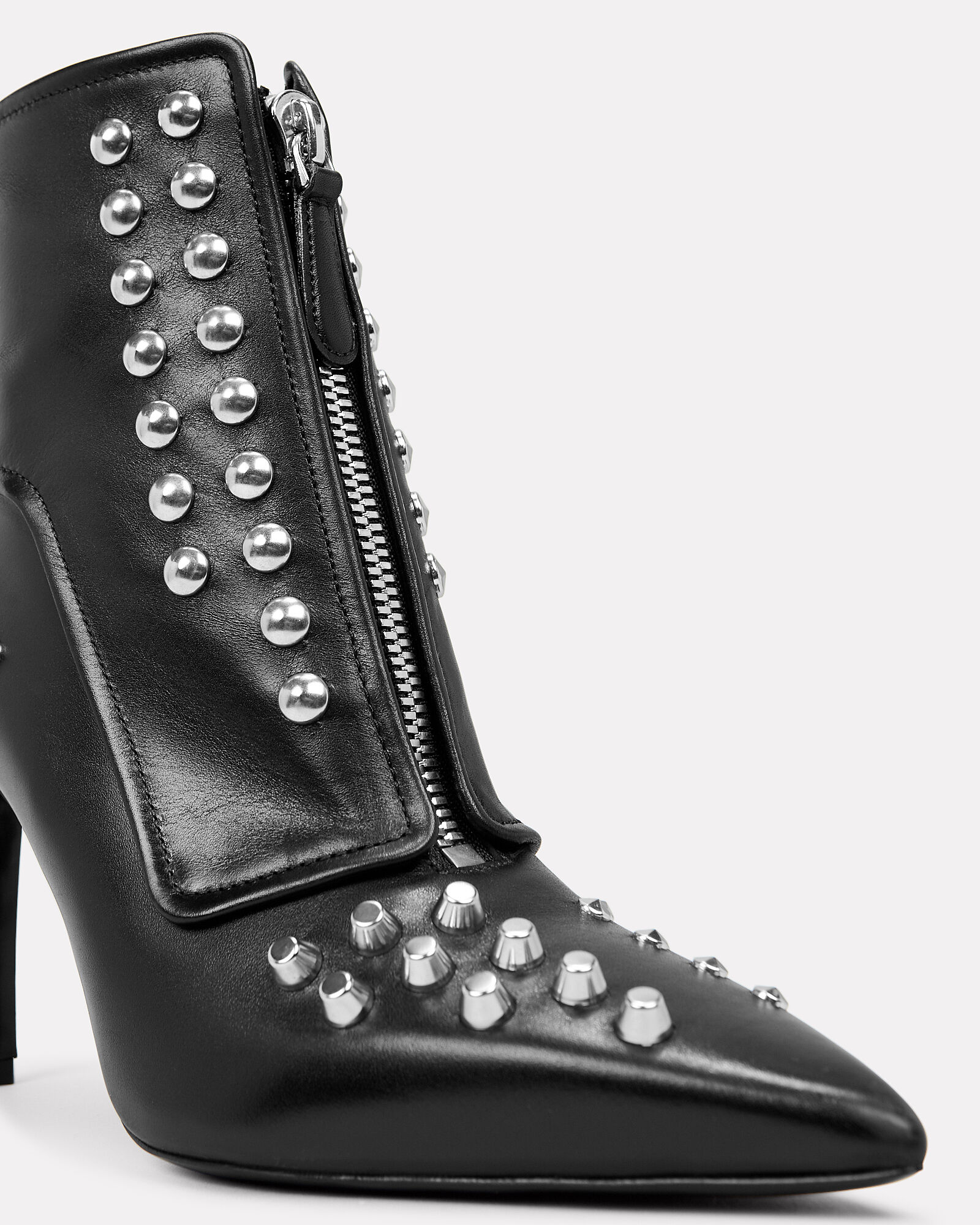 Studded Leather Ankle Boots, BLACK, hi-res