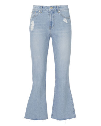 Ribbon Crop Flare Jeans, DENIM, hi-res