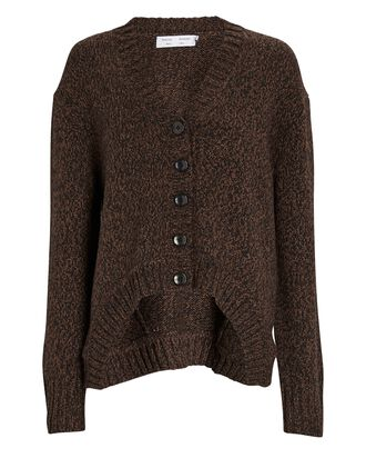 Marled V-Neck Cardigan, BROWN, hi-res