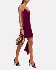 Ryder Gathered Velvet Dress, RED-DRK, hi-res