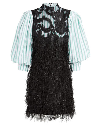 Layered Feathers Poplin Dress, STRIPES/BLACK, hi-res