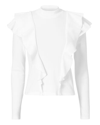 Dawson Ruffle Top, WHITE, hi-res