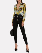 Butterfly Crepe Button Down Blouse, MULTI, hi-res
