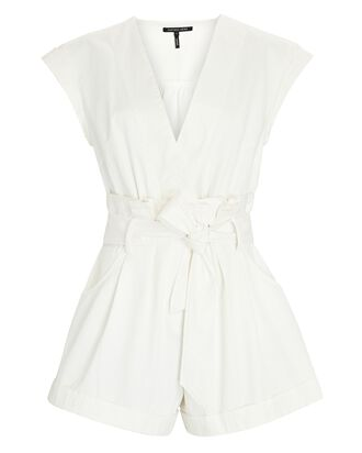 Dixon Sleeveless Cotton Paperbag Romper, WHITE, hi-res