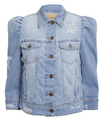 Ada Puffed Sleeve Denim Jacket, MEDIUM BLUE DENIM, hi-res