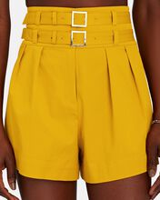 Leslie Double Belted Cotton Shorts, YELLOW, hi-res