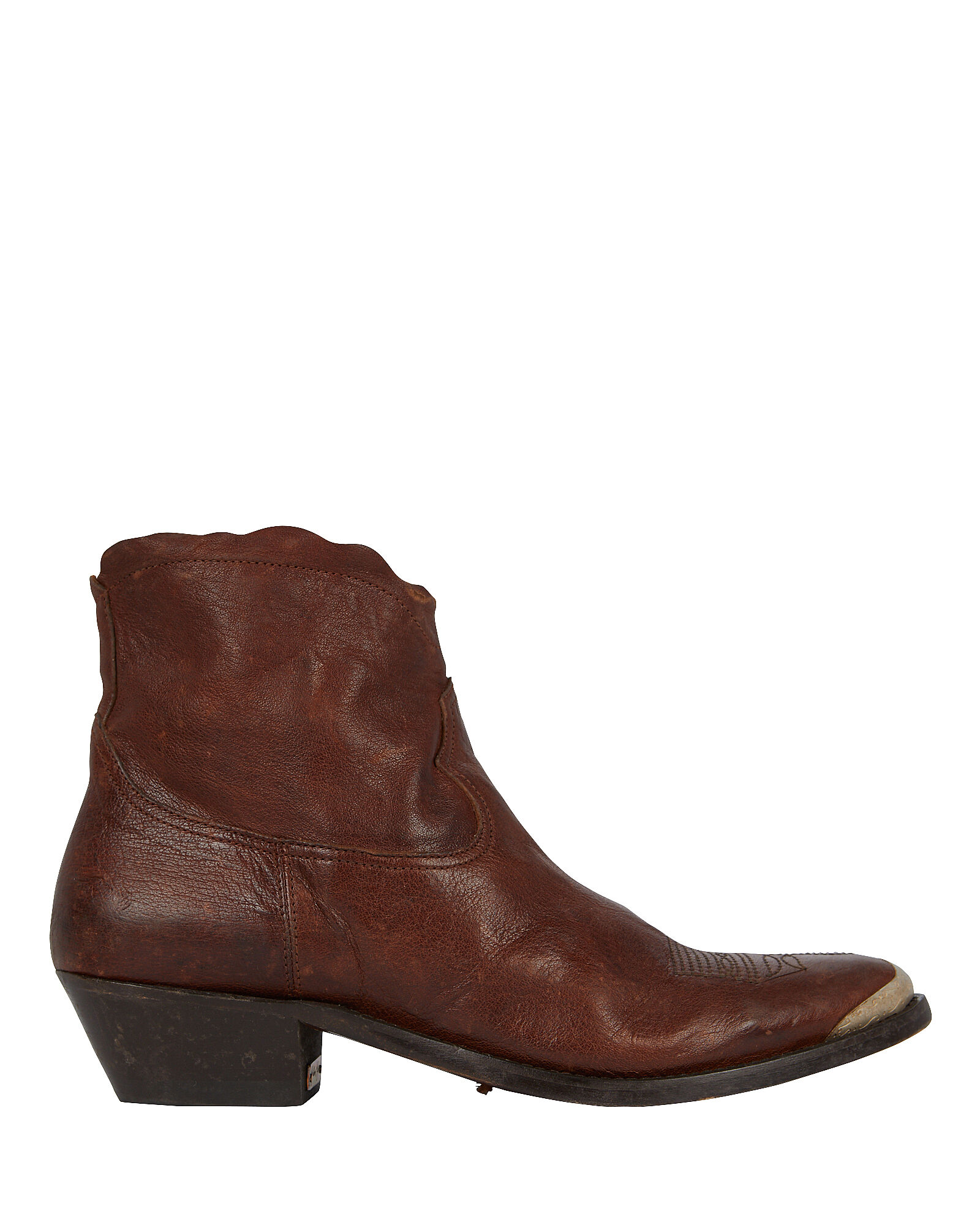 Young Leather Western Booties, BROWN, hi-res