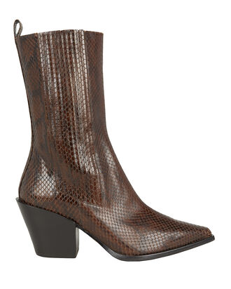 Ari Snake-Embossed Boots, BROWN, hi-res