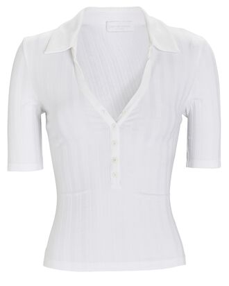 Terri Rib Knit Polo Top, WHITE, hi-res