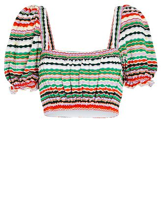 Marcella Puff Sleeve Bikini Top, Red/Green/White, hi-res