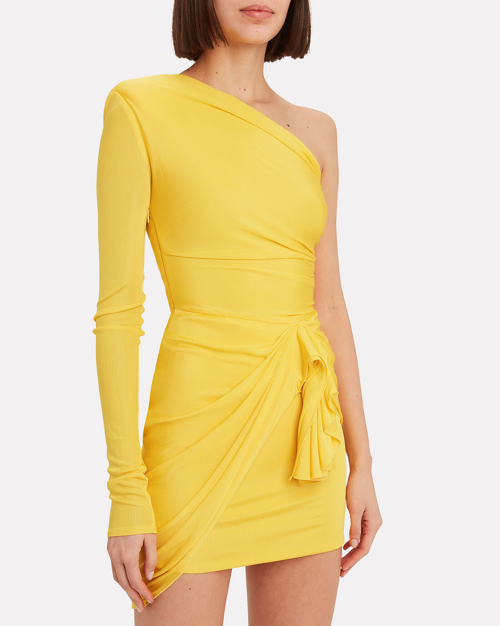 Single Sleeve Jersey Mini Dress, YELLOW, hi-res