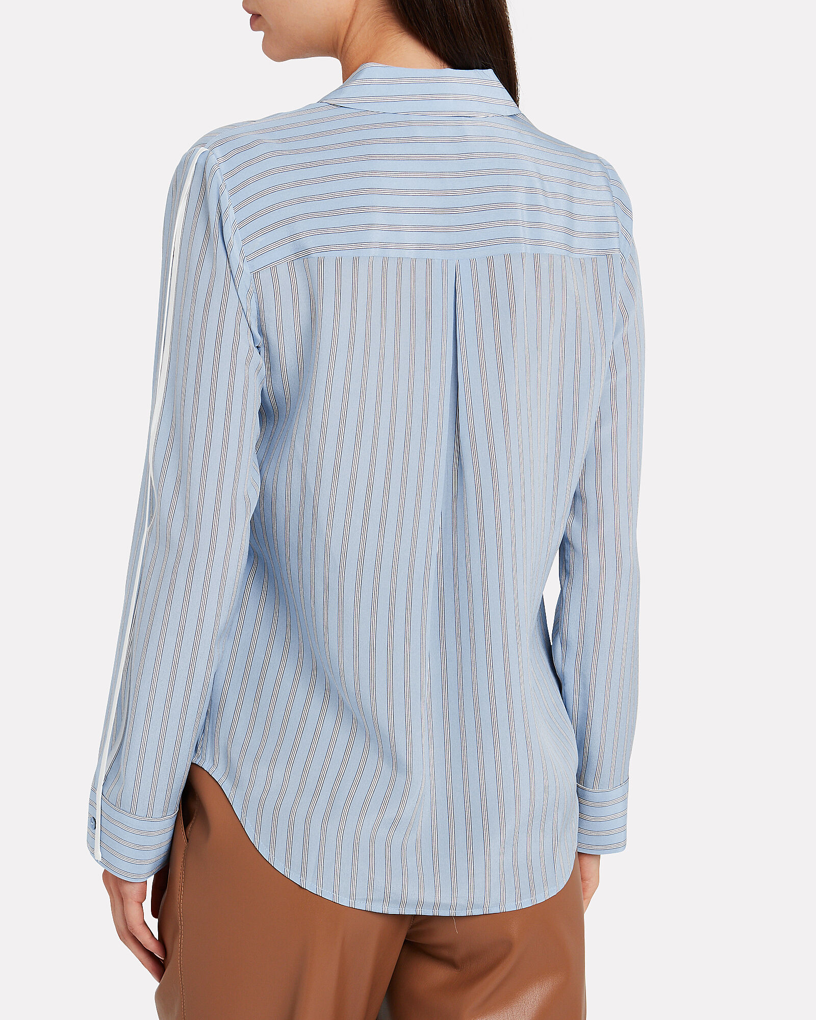 Maggie Striped Silk Blouse, BLUE/WHITE, hi-res